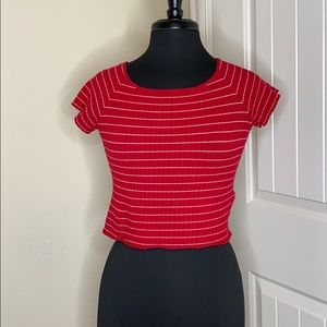 Forever 21 Tops - Red and White Striped Crop Top